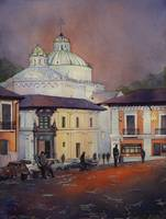 Quito Church- fine art watercolor painting, Ecuado