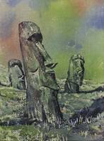 Easter Island watercolor II 21x29