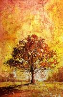 Painting of silhouetted tree- watercolor batik