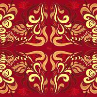 Whimsical Organic Pattern In Red And Yellow I