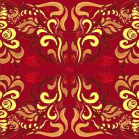 Whimsical Organic Pattern In Red And Yellow II
