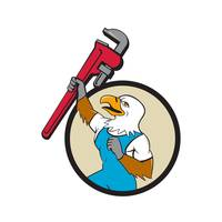 Plumber Eagle Raising Up Pipe Wrench Circle Cartoo