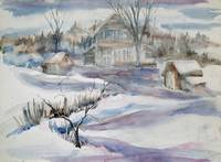 Farm in Winter with Mauve