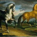 """Two Horses by Theodore Gericault, 1808-1809"" by motionage"