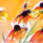 """Flower Panorama Black Eyes Susan Watercolor"" by GinetteCallaway"