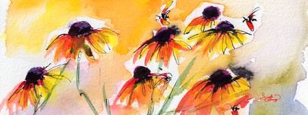 Flower Panorama Black Eyes Susan Watercolor