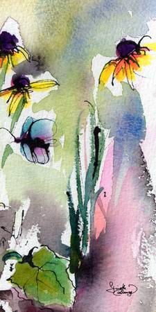 Modern Floral Art Black Eyed Susan Watercolor