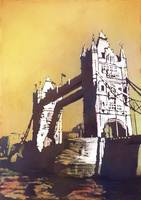 Watercolor painting 19th century Tower Bridge- Lon