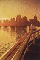 Vancouver, BC sunset painting.  Watercolor landsca