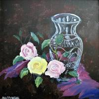 Three Roses and Waterford Vase