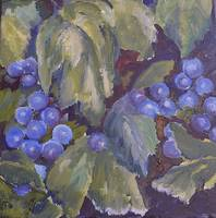 Grapes and Large Leaves II 12Wx12H oil