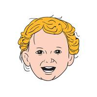 Blonde Caucasian Toddler Head Smiling Drawing