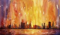 Watercolor painting of Chicago, IL skyline at dawn