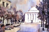 Watercolor painting of Capital building in Raleigh
