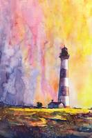 Watercolor painting of Bodie Island lighthouse