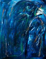 Abstract crow in blue
