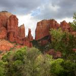 """Red Rocks of Sedona with Spring Trees"" by Groecar"