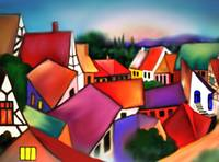 sunset  in the village by Rita Whaley