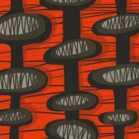 Abstract: Mid Century Modern Retro Red