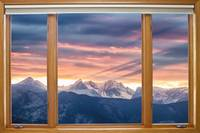Rocky Mountain Sunset Classic Wood Window View
