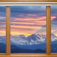 Rocky Mountain Sunset Classic Wood Window View Art Prints & Posters by James