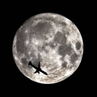 SuperMoon_with_Airplane Art Prints & Posters by Dan Ward