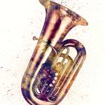 """Tuba Abstract Watercolor"" by ModernArtPrints"