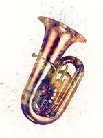 Tuba Abstract Watercolor