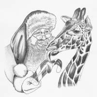 christmas giraffe and Santa Art Prints & Posters by Roseann Riggi-Knudson