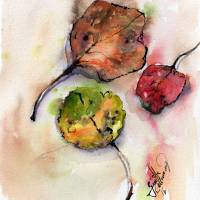 """Autumn Fallen Leaves Watercolor and Ink"" by GinetteCallaway"