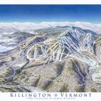 Killington 1990 trail map image Art Prints & Posters by James Niehues