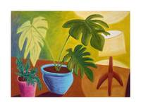 Potted Plants and Lamp