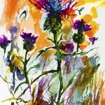 """Modern Floral Thistles Wildflowers Paintings"" by GinetteCallaway"