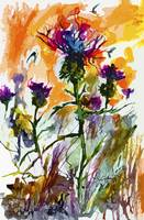 Modern Floral Thistles Wildflowers Paintings