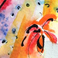 """Intuitive Abstract Floral Watercolor and Ink"" by GinetteCallaway"