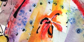 Intuitive Abstract Floral Watercolor and Ink