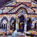 """12-5-16-FestiveAmalfiCathedral-oil-6000"" by GinetteCallaway"