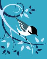 Stylized Black Capped Chickadee