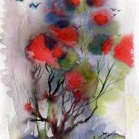 Abstract Poinciana Tree Landscape Portrait Art Prints & Posters by Ginette Callaway