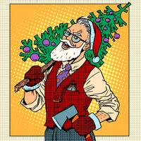 Hipster Santa Claus with Christmas tree