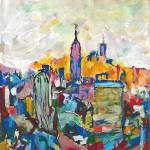 New York Abstract Pink Empire State Building by RD Riccoboni