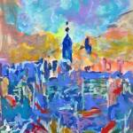 New York Abstract in Blue Empire State Building by RD Riccoboni