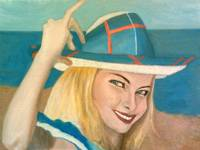 The Pretty Blonde Holds Her Hat Down On Her Head