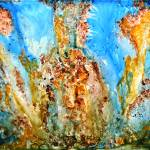 """""""Rhapsody Abstract Painting Blue,brown and yellow"""" by mkanvinde"""