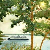 Island Ferry Art Prints & Posters by Kathy Johnson