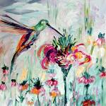 """Hummingbird on Flowers Oil Painting"" by GinetteCallaway"