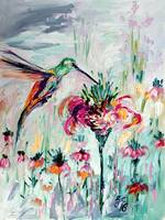 Hummingbird on Flowers Oil Painting