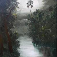 Florida Misty RIver Moss Art Prints & Posters by Mazz Original Paintings