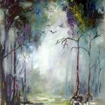 """Morning in the Wetlands Cypress Trees and Birds"" by GinetteCallaway"