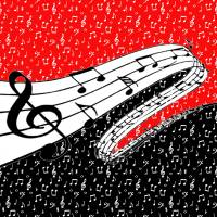 red and black music theme Art Prints & Posters by Elizabeth Mix